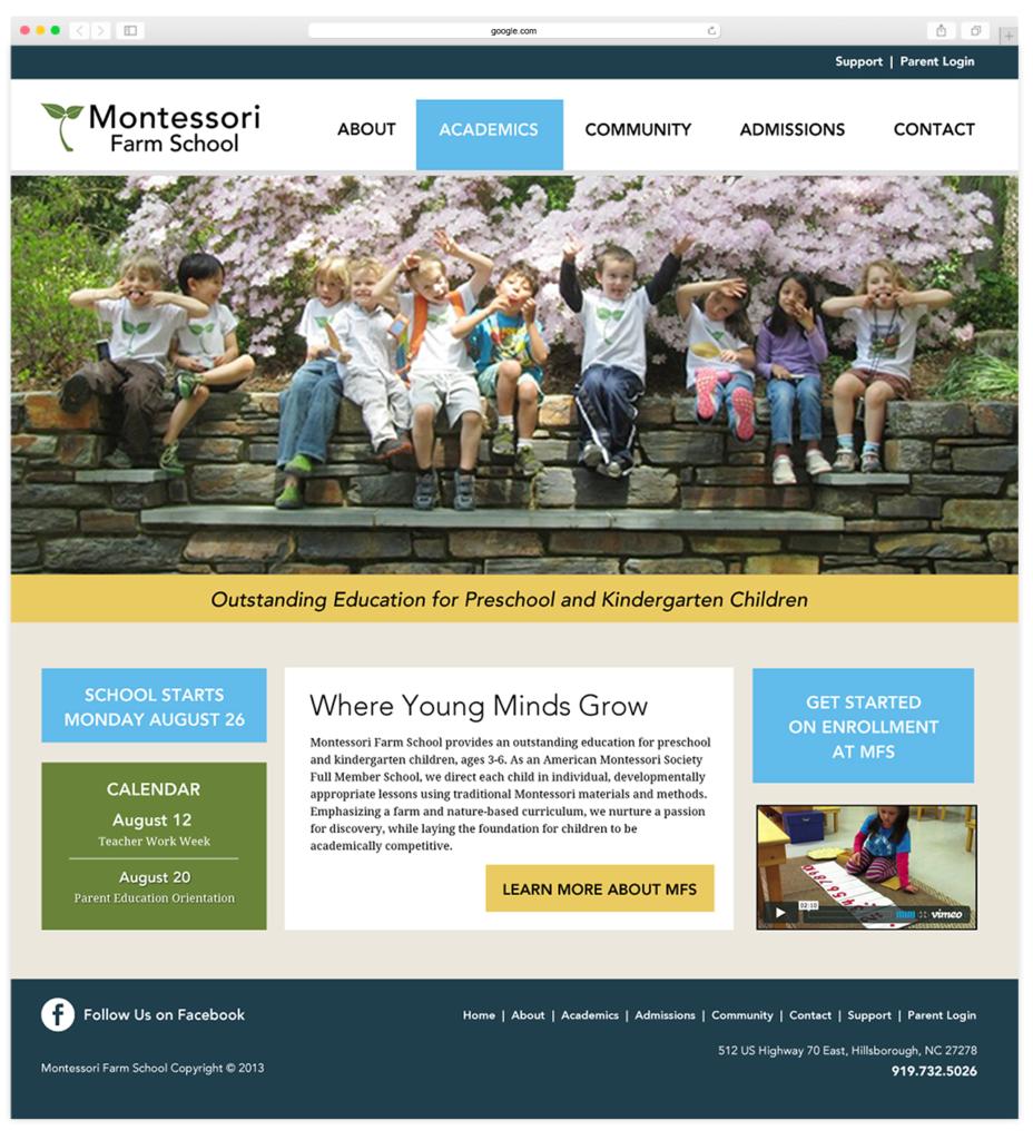 Montessori Farm School Website Design